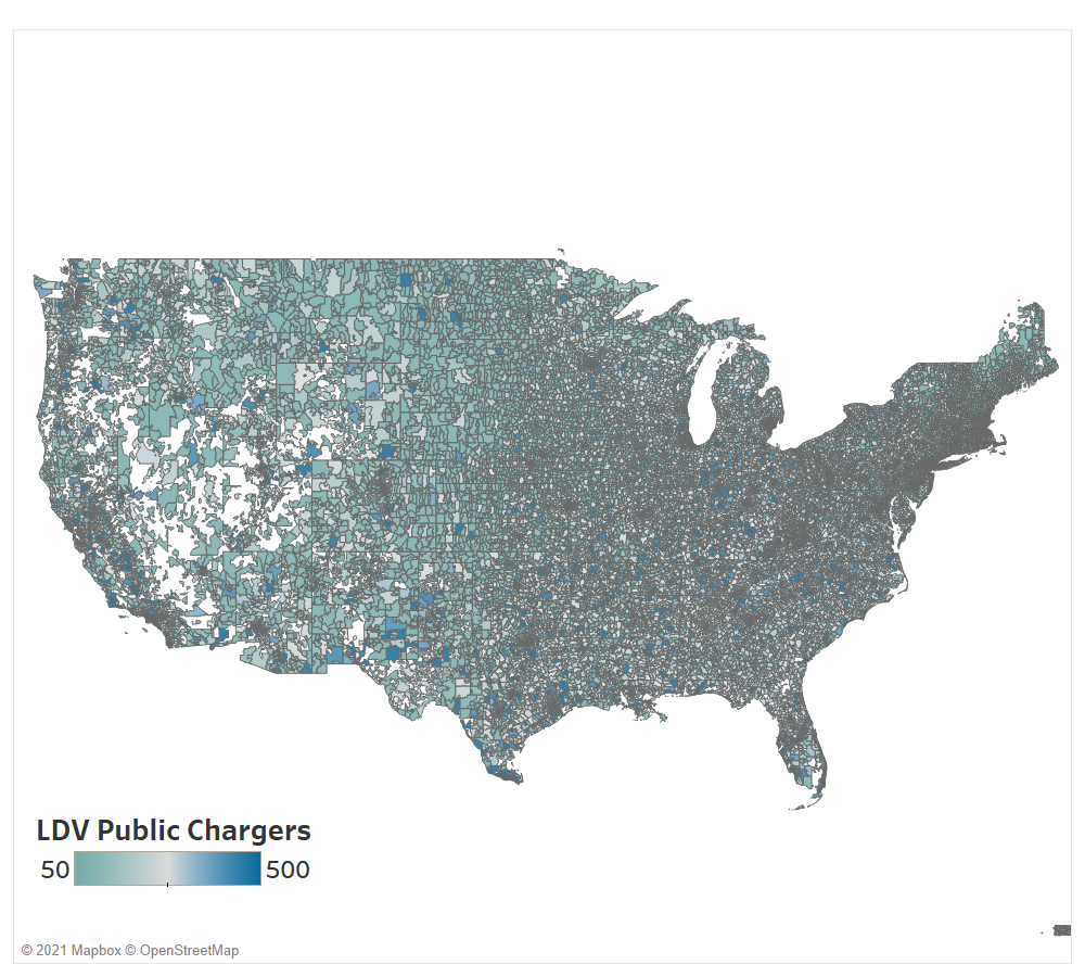 LDV public charging infrastructure per zip code by 2050, prioritized by low availability of dedicated home charging (implying higher concentrations of multi-dwelling and rented units), low-income areas, and higher vehicle populations in the region.