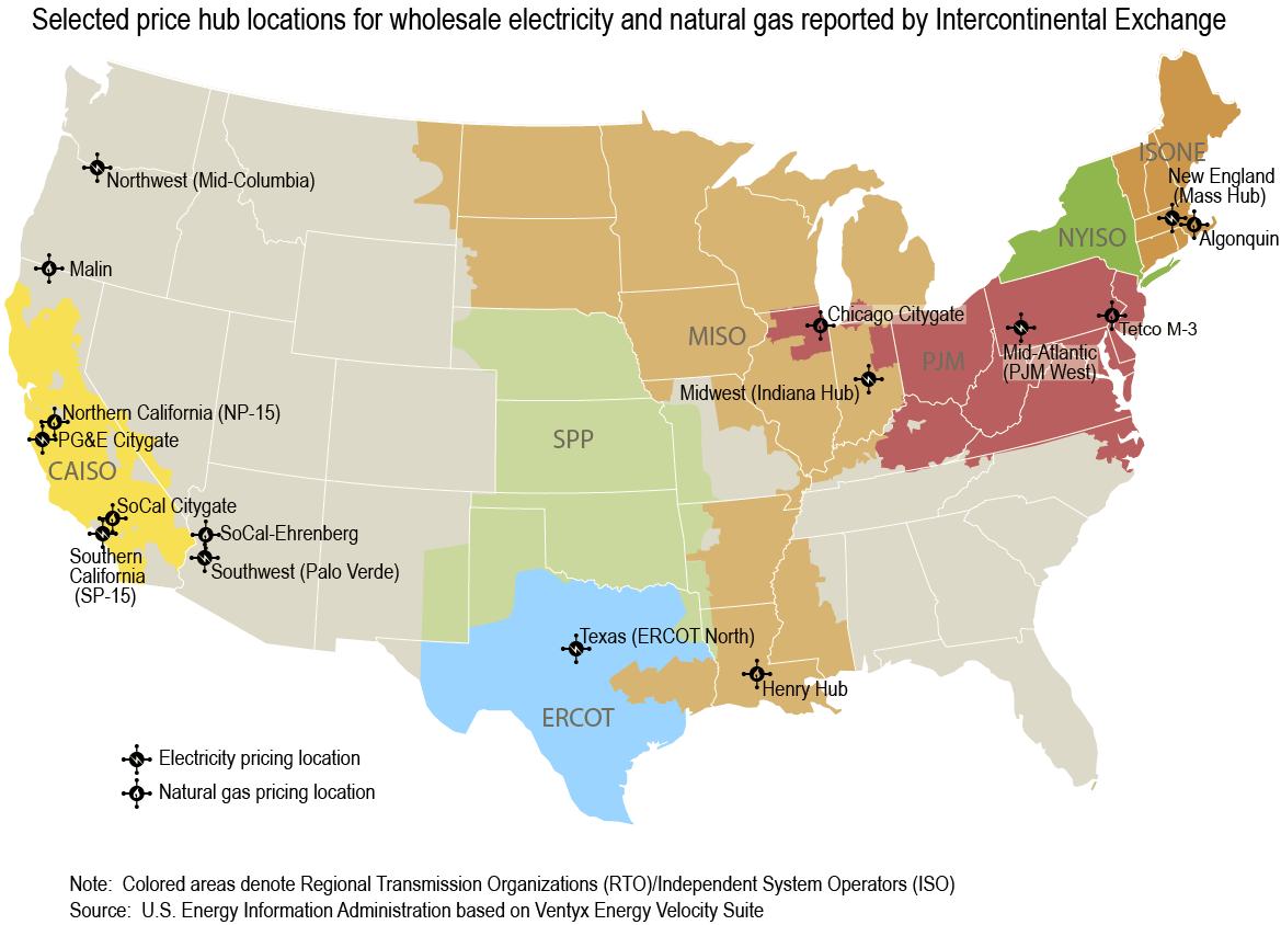 Selected price hub locations for wholesale electricity and natural gas reported by Intercontinental Exchange